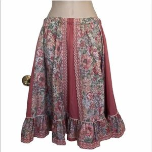 Handmade vintage prairie pink/lace flower skirt m